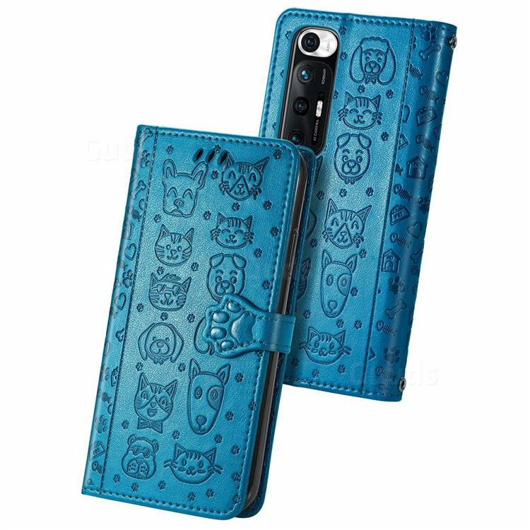 Embossing Dog Paw Kitten and Puppy Leather Wallet Case for Xiaomi Mi 10S - Blue