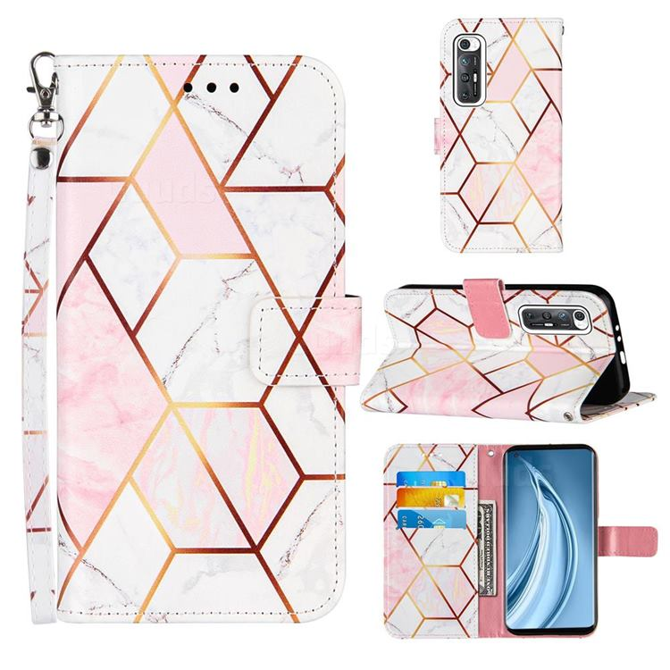 Pink White Stitching Color Marble Leather Wallet Case for Xiaomi Mi 10S