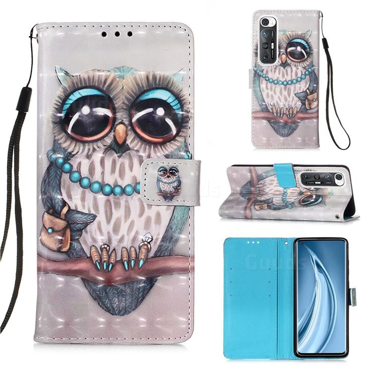 Sweet Gray Owl 3D Painted Leather Wallet Case for Xiaomi Mi 10S