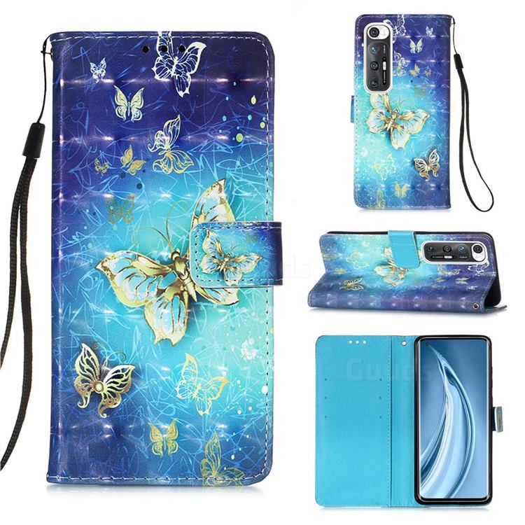 Gold Butterfly 3D Painted Leather Wallet Case for Xiaomi Mi 10S