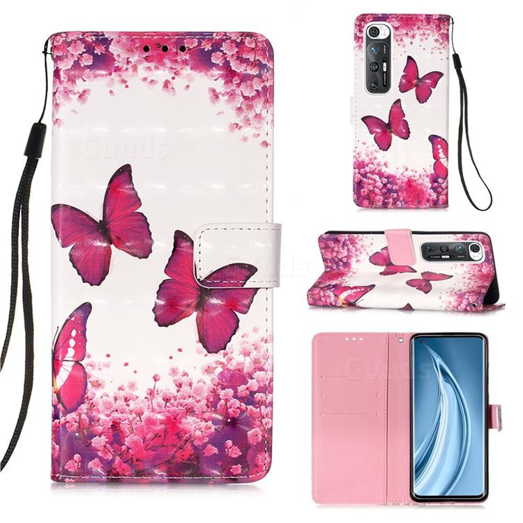 Rose Butterfly 3D Painted Leather Wallet Case for Xiaomi Mi 10S