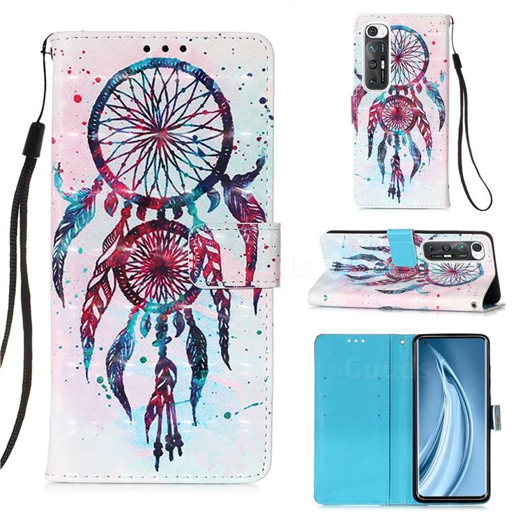 ColorDrops Wind Chimes 3D Painted Leather Wallet Case for Xiaomi Mi 10S