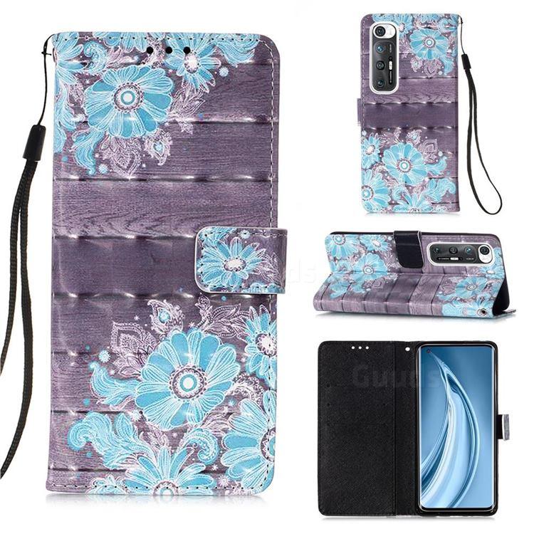 Blue Flower 3D Painted Leather Wallet Case for Xiaomi Mi 10S