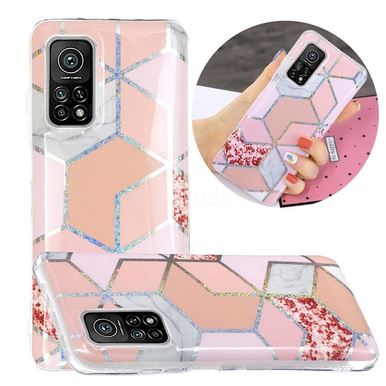 Pink Marble Painted Galvanized Electroplating Soft Phone Case Cover for Xiaomi Mi 10T / 10T Pro 5G