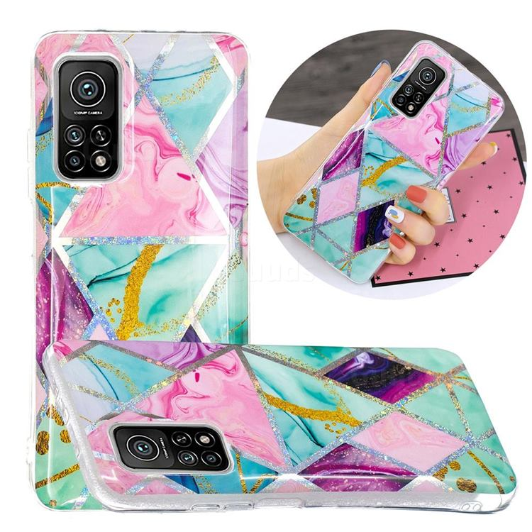 Triangular Marble Painted Galvanized Electroplating Soft Phone Case Cover for Xiaomi Mi 10T / 10T Pro 5G