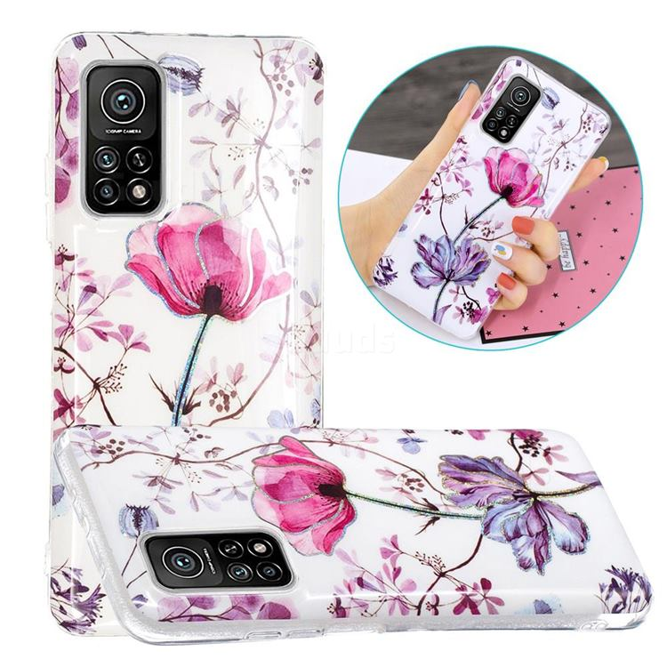 Magnolia Painted Galvanized Electroplating Soft Phone Case Cover for Xiaomi Mi 10T / 10T Pro 5G