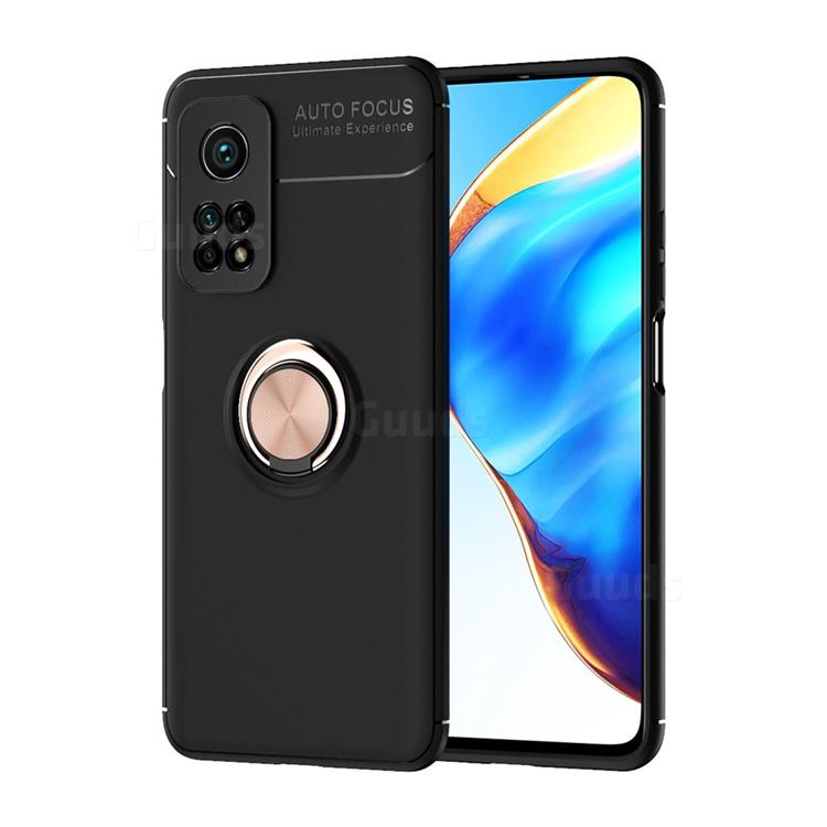 Auto Focus Invisible Ring Holder Soft Phone Case for Xiaomi Mi 10T / 10T Pro 5G - Black Gold