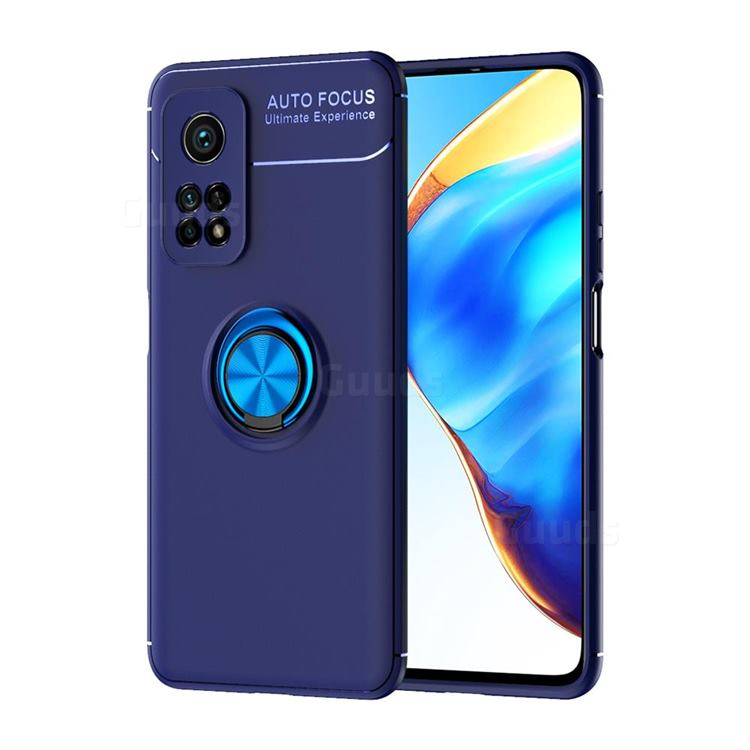 Auto Focus Invisible Ring Holder Soft Phone Case for Xiaomi Mi 10T / 10T Pro 5G - Blue