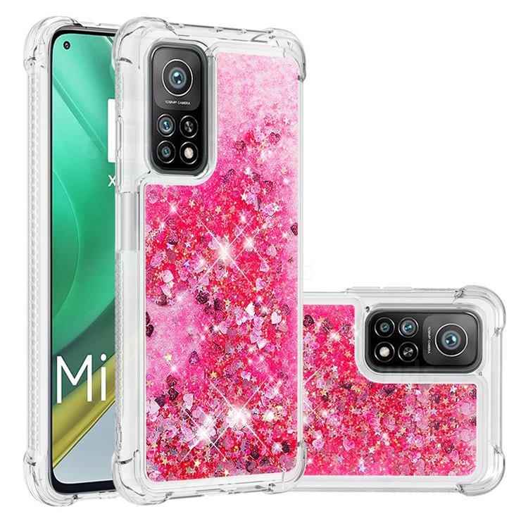 Dynamic Liquid Glitter Sand Quicksand TPU Case for Xiaomi Mi 10T / 10T Pro 5G - Pink Love Heart