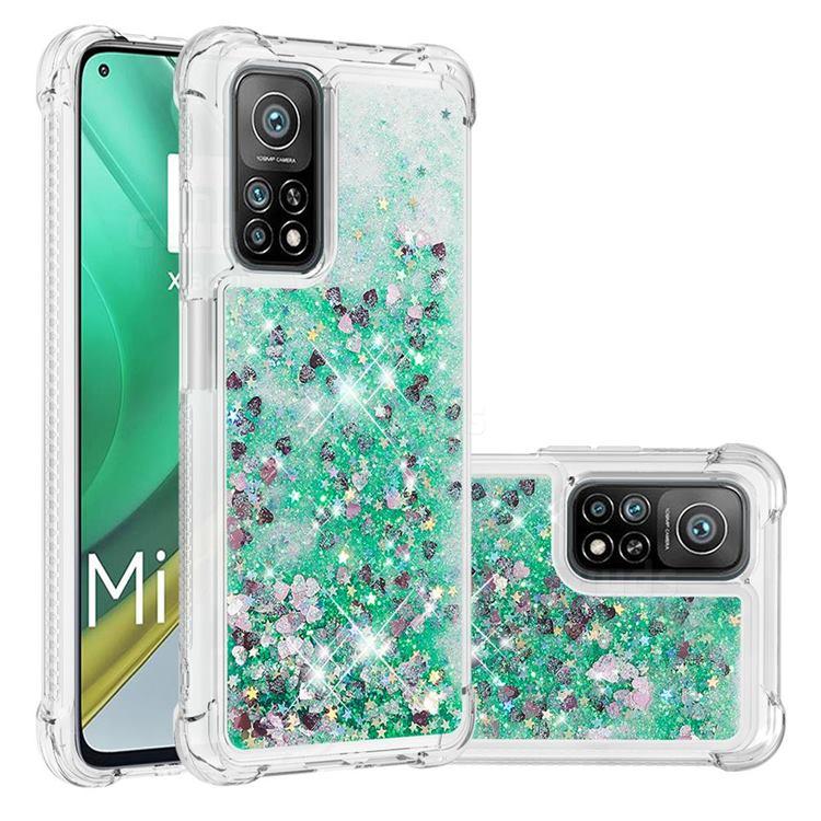 Dynamic Liquid Glitter Sand Quicksand TPU Case for Xiaomi Mi 10T / 10T Pro 5G - Green Love Heart