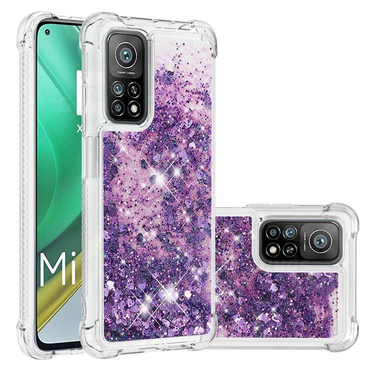 Dynamic Liquid Glitter Sand Quicksand Star TPU Case for Xiaomi Mi 10T / 10T Pro 5G - Purple