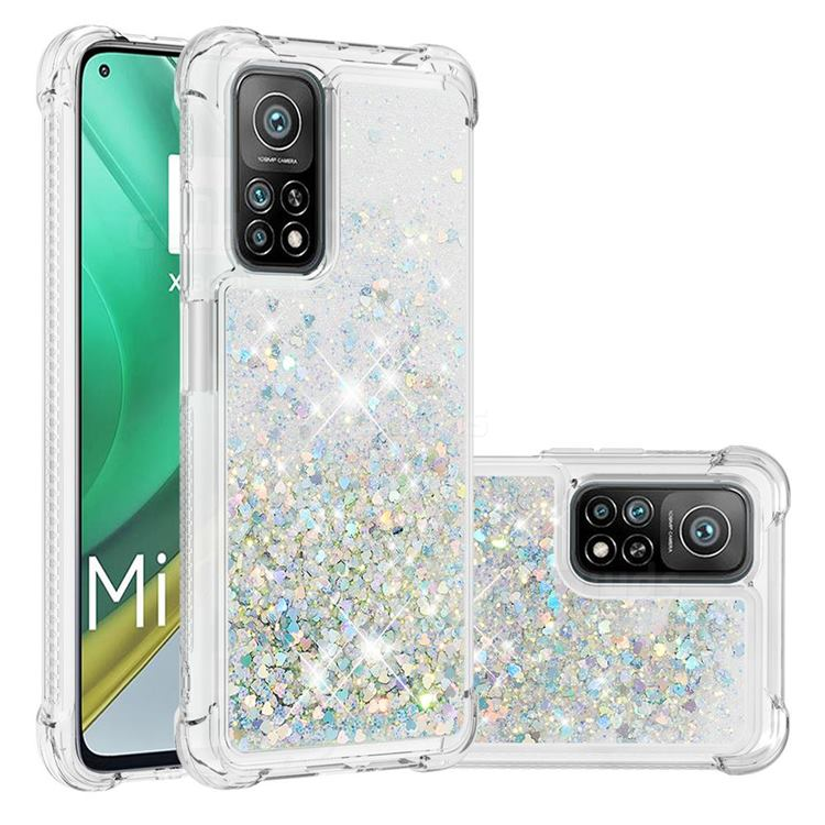 Dynamic Liquid Glitter Sand Quicksand Star TPU Case for Xiaomi Mi 10T / 10T Pro 5G - Silver