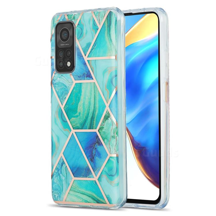 Green Glacier Marble Pattern Galvanized Electroplating Protective Case Cover for Xiaomi Mi 10T / 10T Pro 5G