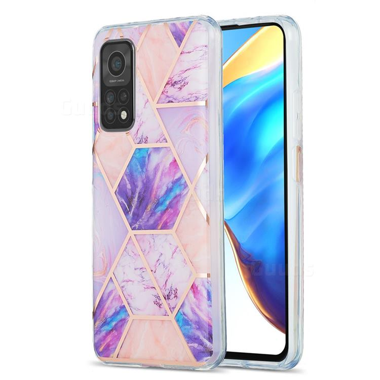 Purple Dream Marble Pattern Galvanized Electroplating Protective Case Cover for Xiaomi Mi 10T / 10T Pro 5G