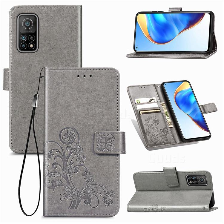 Embossing Imprint Four-Leaf Clover Leather Wallet Case for Xiaomi Mi 10T / 10T Pro 5G - Grey