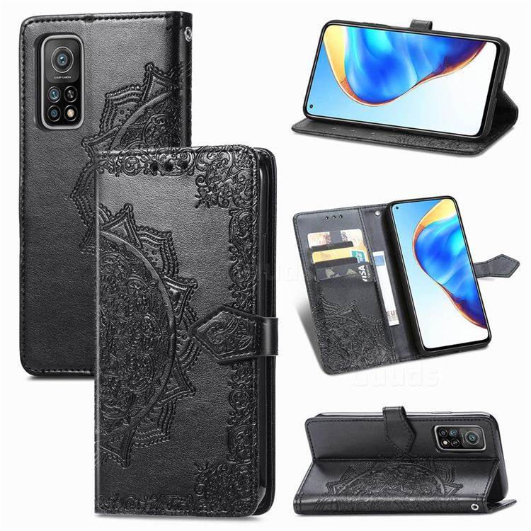 Embossing Imprint Mandala Flower Leather Wallet Case for Xiaomi Mi 10T / 10T Pro 5G - Black