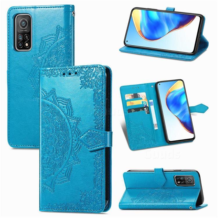 Embossing Imprint Mandala Flower Leather Wallet Case for Xiaomi Mi 10T / 10T Pro 5G - Blue