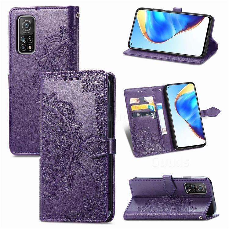 Embossing Imprint Mandala Flower Leather Wallet Case for Xiaomi Mi 10T / 10T Pro 5G - Purple