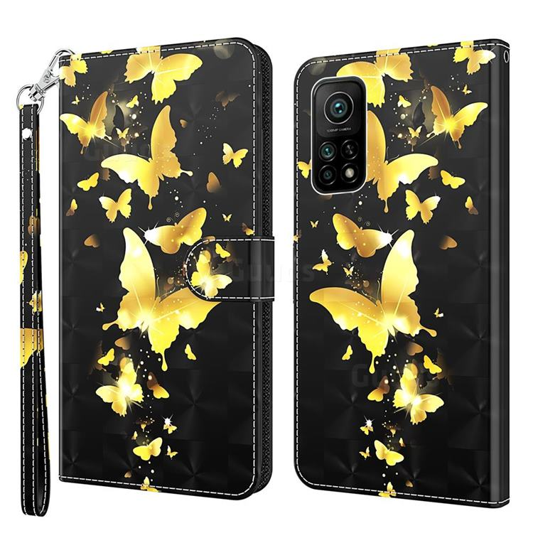 Golden Butterfly 3D Painted Leather Wallet Case for Xiaomi Mi 10T / 10T Pro 5G