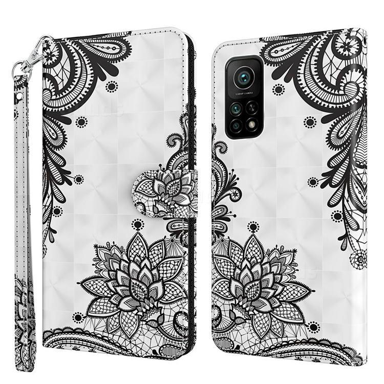 Black Lace Flower 3D Painted Leather Wallet Case for Xiaomi Mi 10T / 10T Pro 5G