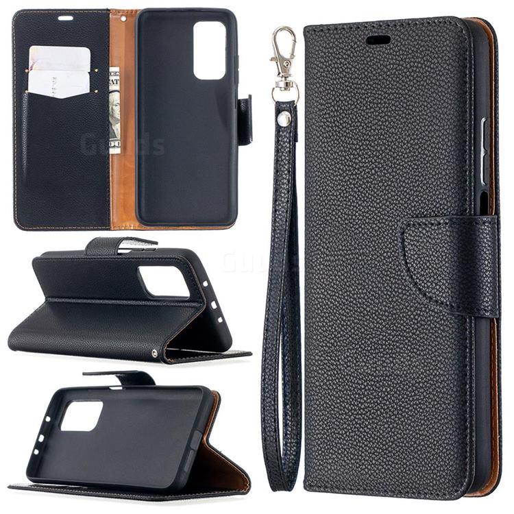 Classic Luxury Litchi Leather Phone Wallet Case for Xiaomi Mi 10T / 10T Pro 5G - Black