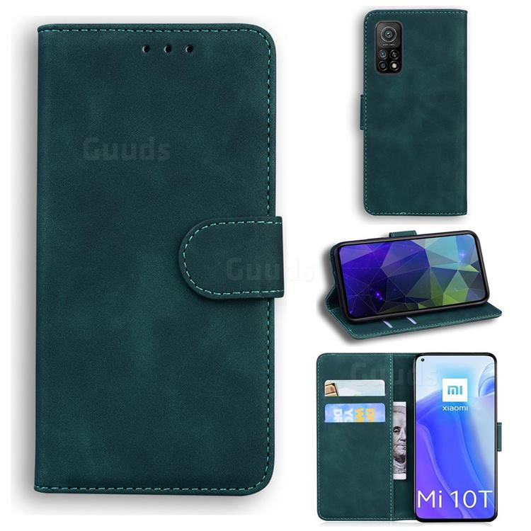 Retro Classic Skin Feel Leather Wallet Phone Case for Xiaomi Mi 10T / 10T Pro 5G - Green