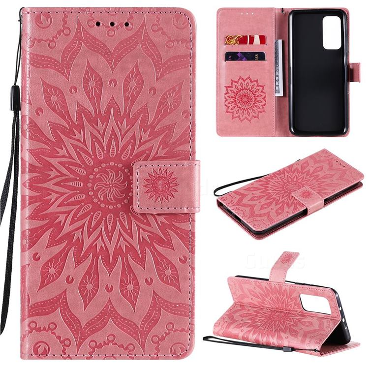 Embossing Sunflower Leather Wallet Case for Xiaomi Mi 10T / 10T Pro 5G - Pink
