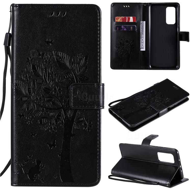 Embossing Butterfly Tree Leather Wallet Case for Xiaomi Mi 10T / 10T Pro 5G - Black