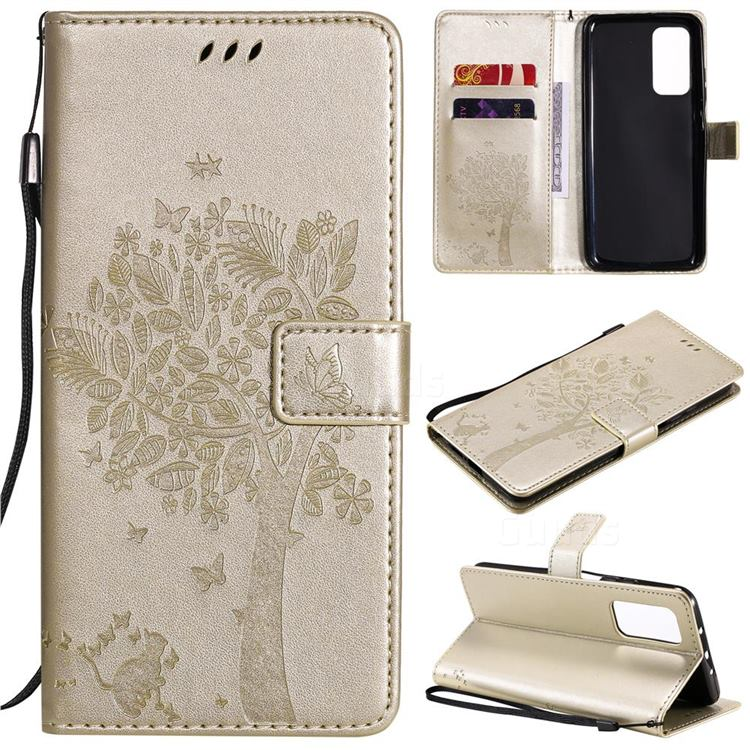 Embossing Butterfly Tree Leather Wallet Case for Xiaomi Mi 10T / 10T Pro 5G - Champagne