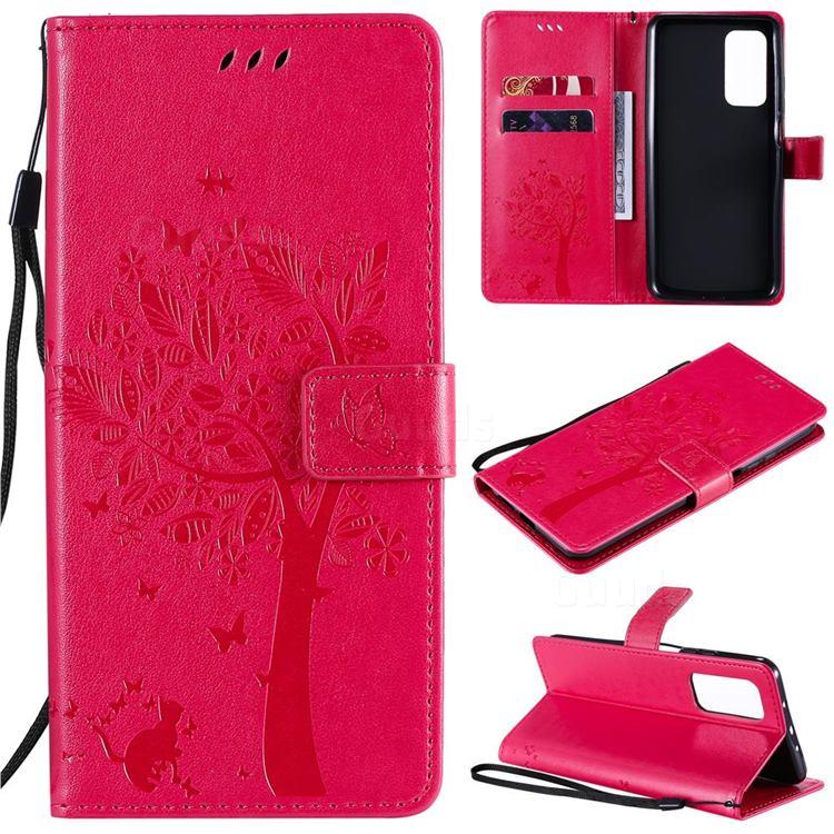 Embossing Butterfly Tree Leather Wallet Case for Xiaomi Mi 10T / 10T Pro 5G - Rose