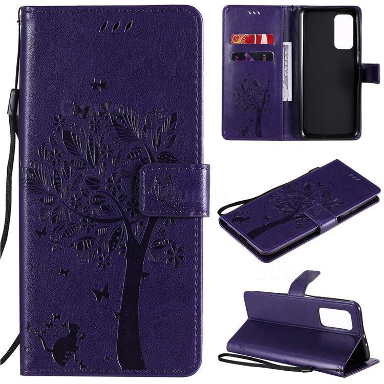Embossing Butterfly Tree Leather Wallet Case for Xiaomi Mi 10T / 10T Pro 5G - Purple