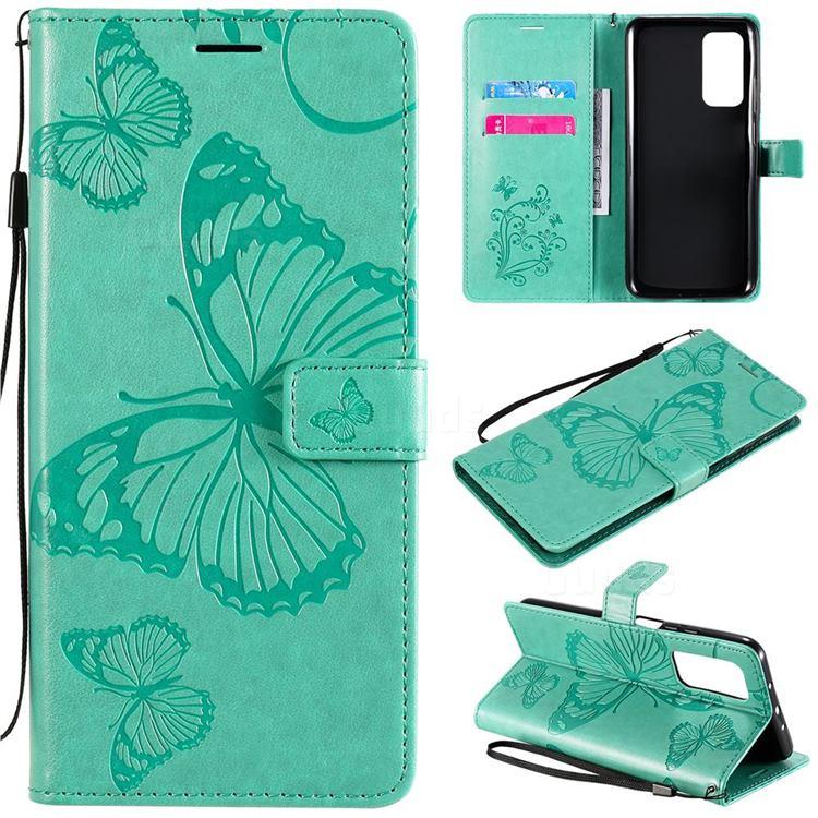 Embossing 3D Butterfly Leather Wallet Case for Xiaomi Mi 10T / 10T Pro 5G - Green