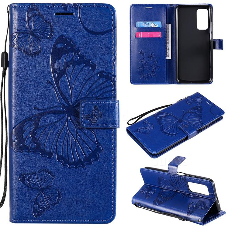 Embossing 3D Butterfly Leather Wallet Case for Xiaomi Mi 10T / 10T Pro 5G - Blue