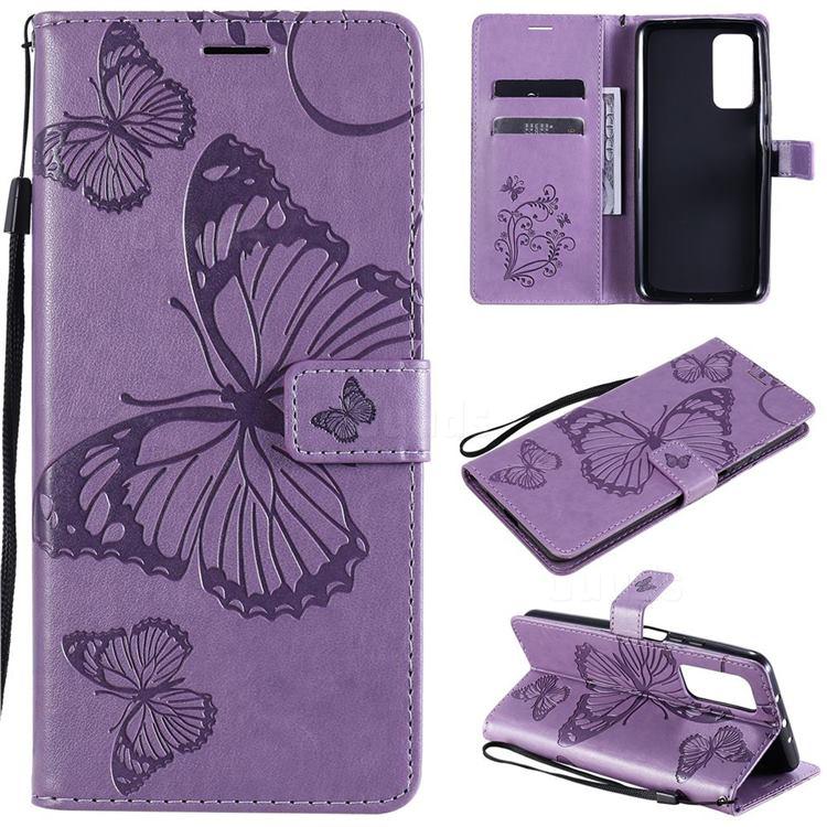 Embossing 3D Butterfly Leather Wallet Case for Xiaomi Mi 10T / 10T Pro 5G - Purple