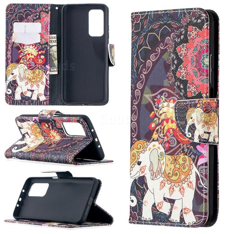 Totem Flower Elephant Leather Wallet Case for Xiaomi Mi 10T / 10T Pro 5G