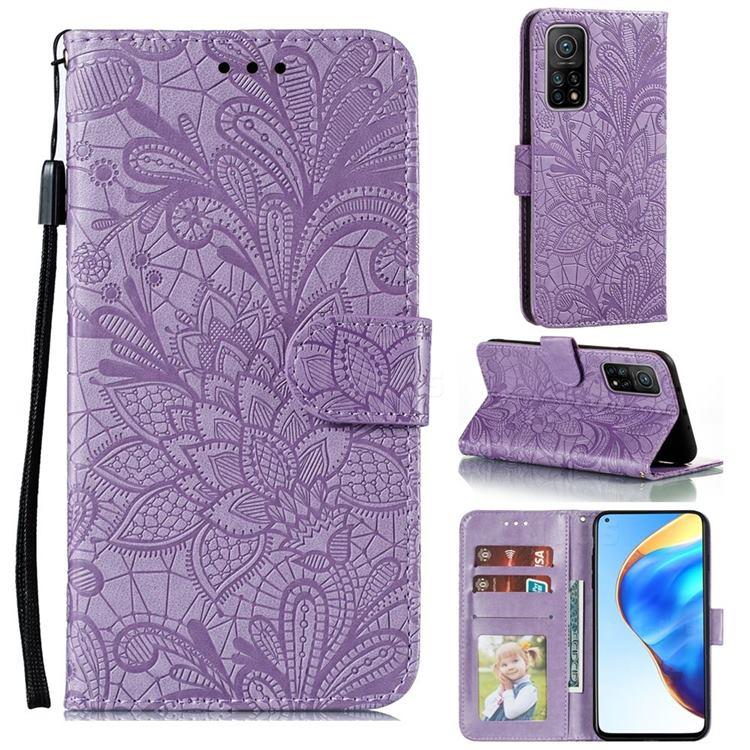 Intricate Embossing Lace Jasmine Flower Leather Wallet Case for Xiaomi Mi 10T / 10T Pro 5G - Purple