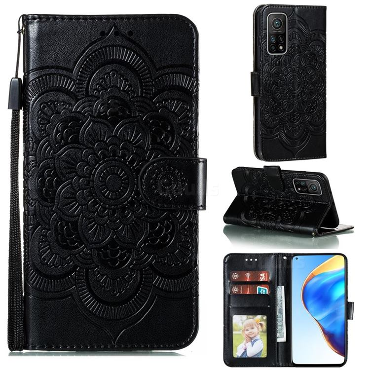 Intricate Embossing Datura Solar Leather Wallet Case for Xiaomi Mi 10T / 10T Pro 5G - Black