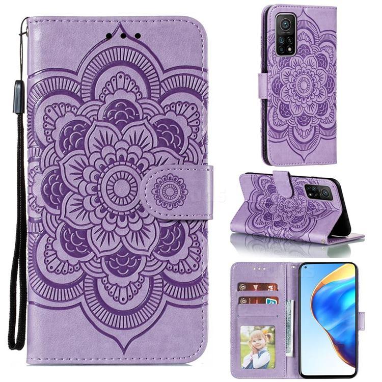 Intricate Embossing Datura Solar Leather Wallet Case for Xiaomi Mi 10T / 10T Pro 5G - Purple