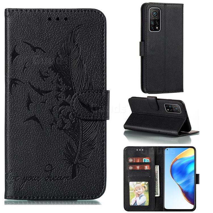 Intricate Embossing Lychee Feather Bird Leather Wallet Case for Xiaomi Mi 10T / 10T Pro 5G - Black