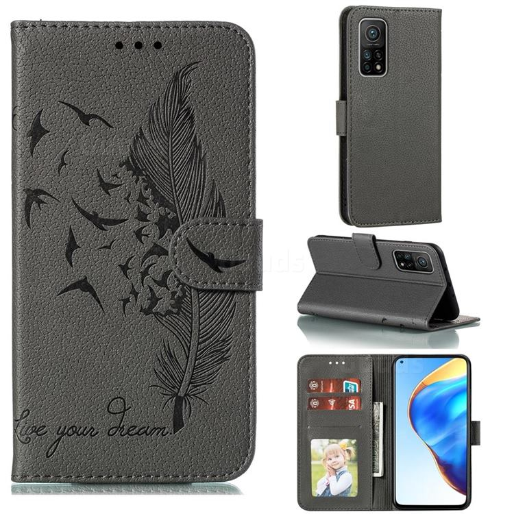 Intricate Embossing Lychee Feather Bird Leather Wallet Case for Xiaomi Mi 10T / 10T Pro 5G - Gray