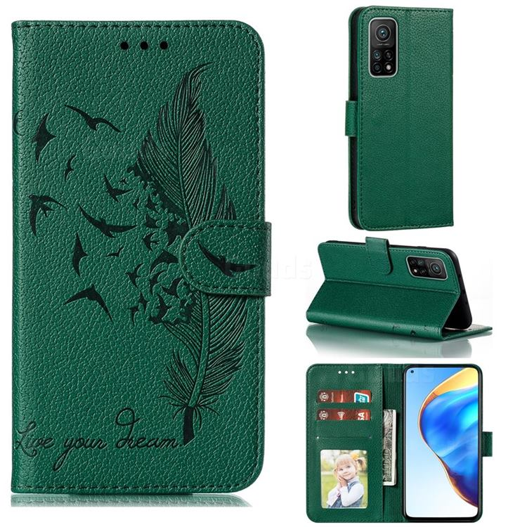 Intricate Embossing Lychee Feather Bird Leather Wallet Case for Xiaomi Mi 10T / 10T Pro 5G - Green