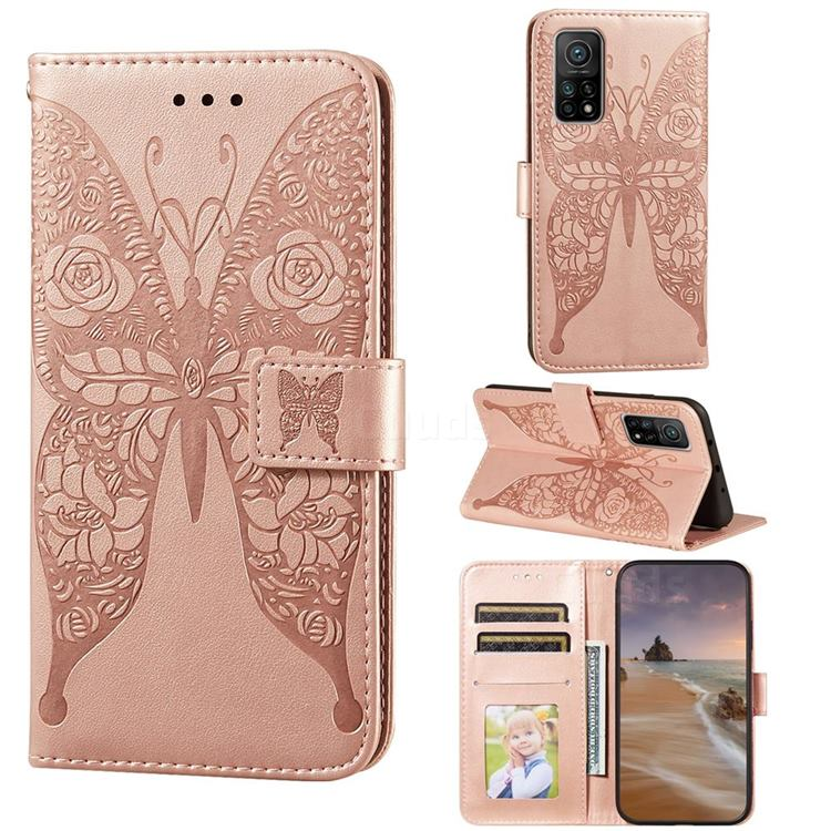 Intricate Embossing Rose Flower Butterfly Leather Wallet Case for Xiaomi Mi 10T / 10T Pro 5G - Rose Gold