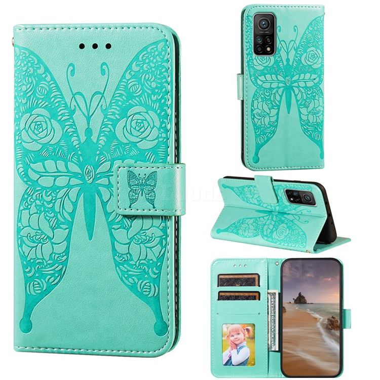 Intricate Embossing Rose Flower Butterfly Leather Wallet Case for Xiaomi Mi 10T / 10T Pro 5G - Green