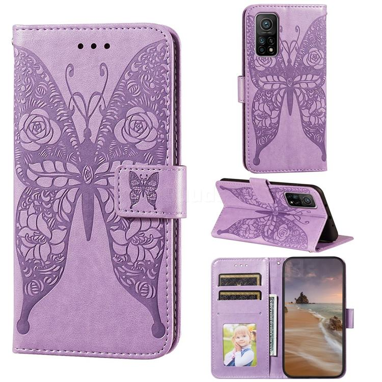 Intricate Embossing Rose Flower Butterfly Leather Wallet Case for Xiaomi Mi 10T / 10T Pro 5G - Purple