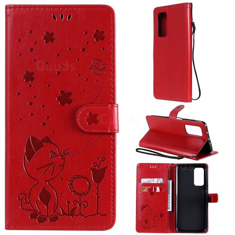 Embossing Bee and Cat Leather Wallet Case for Xiaomi Mi 10T / 10T Pro 5G - Red