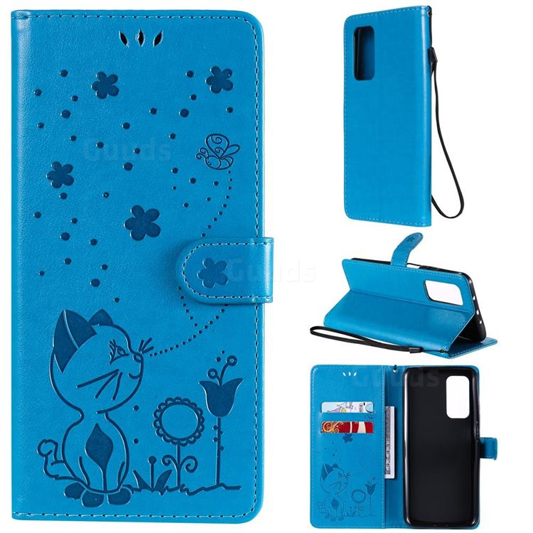 Embossing Bee and Cat Leather Wallet Case for Xiaomi Mi 10T / 10T Pro 5G - Blue
