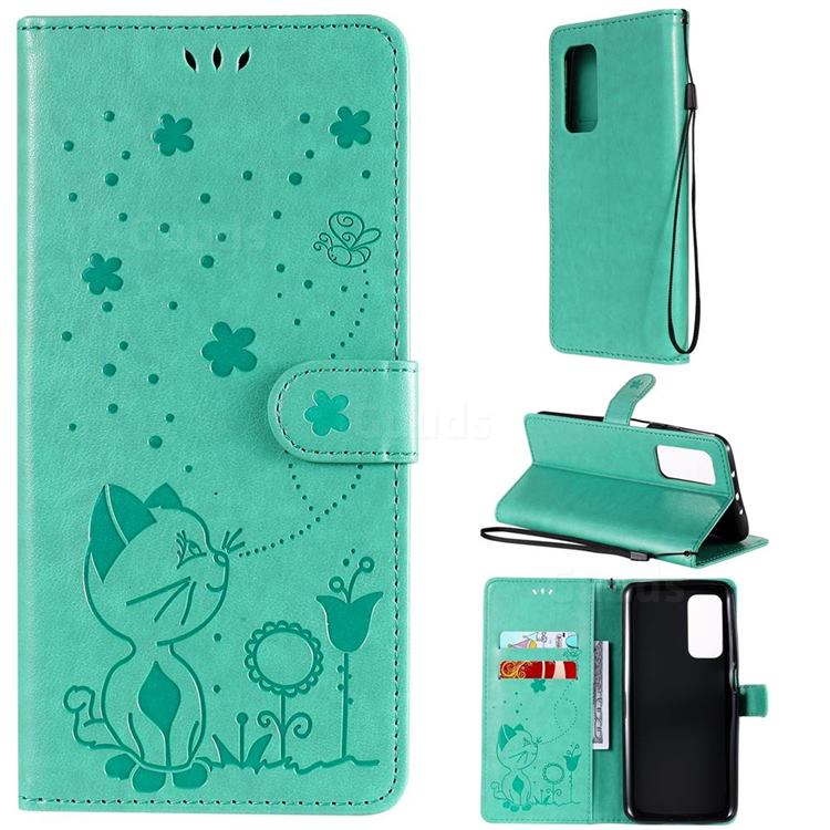 Embossing Bee and Cat Leather Wallet Case for Xiaomi Mi 10T / 10T Pro 5G - Green