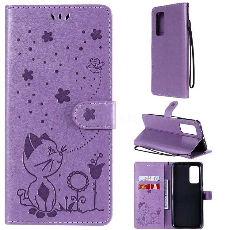 Embossing Bee and Cat Leather Wallet Case for Xiaomi Mi 10T / 10T Pro 5G - Purple