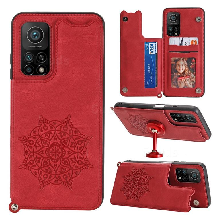 Luxury Mandala Multi-function Magnetic Card Slots Stand Leather Back Cover for Xiaomi Mi 10T / 10T Pro 5G - Red