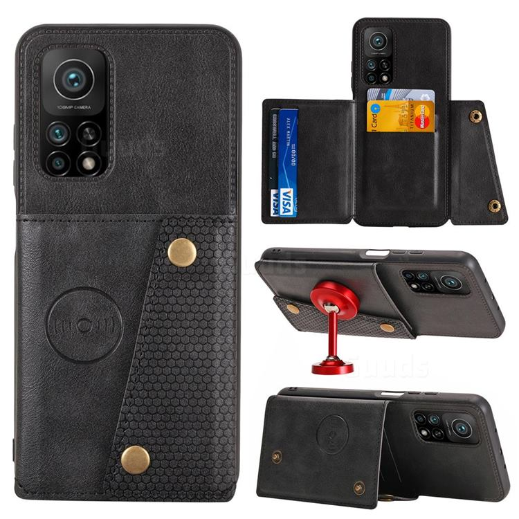 Retro Multifunction Card Slots Stand Leather Coated Phone Back Cover for Xiaomi Mi 10T / 10T Pro 5G - Black